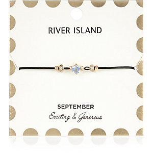 Bracelet bleu avec pierre de naissance mois de septembre