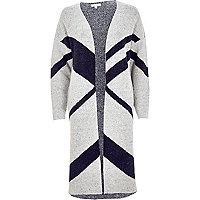 Grey color block cardigan