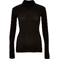 Black ribbed roll neck top