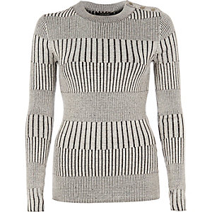 Light grey ribbed button detail top