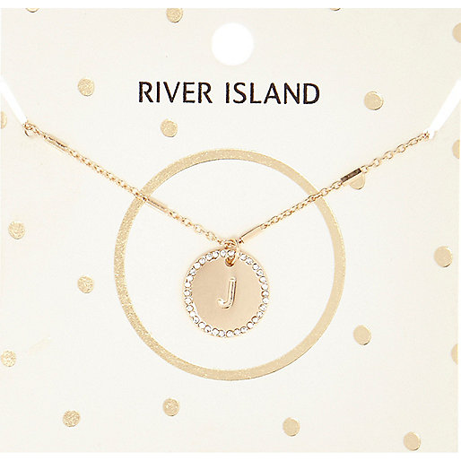 Gold tone J initial necklace