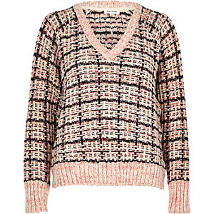 Pink chunky knit check jumper