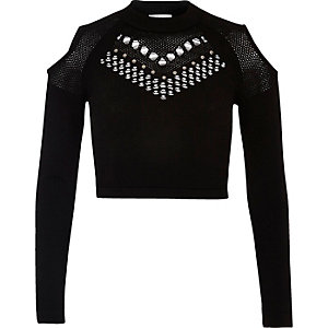Black studded mesh knit crop top