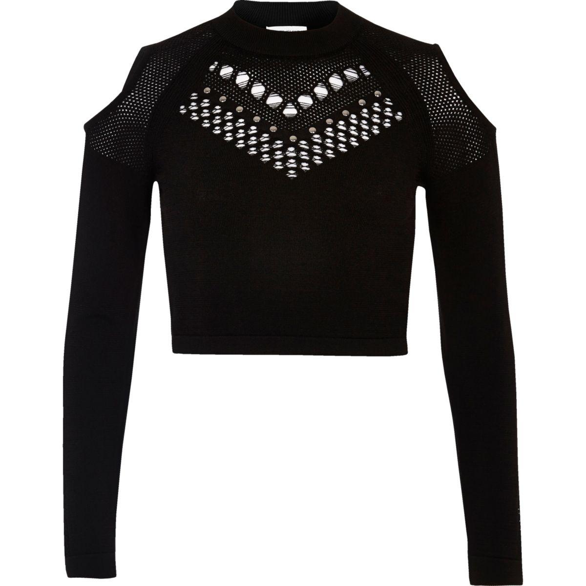 Black studded mesh knit crop top