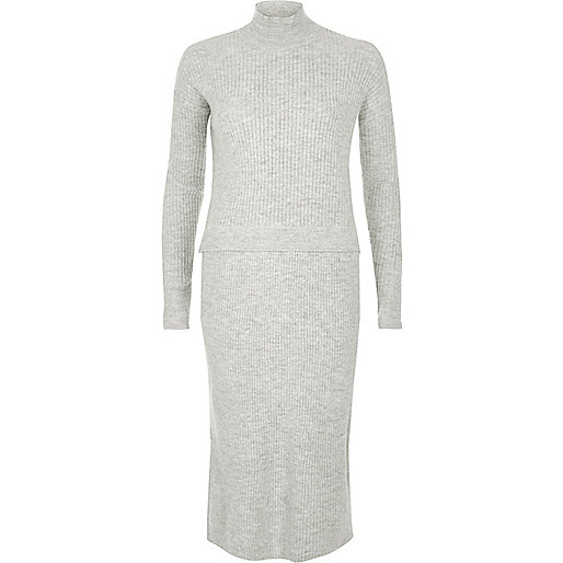 Grey ribbed knit sweater dress