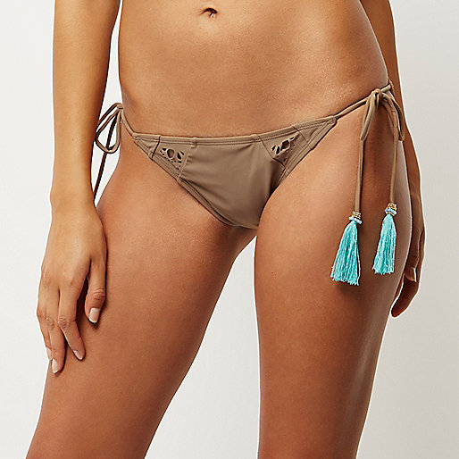 RI Resort brown tassel bikini bottoms