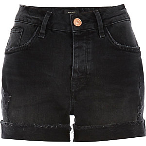 Black washed boyfriend denim shorts
