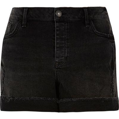 RI Plus zwarte washed boyfriend-fit denim short