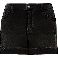 RI Plus black washed boyfriend denim shorts