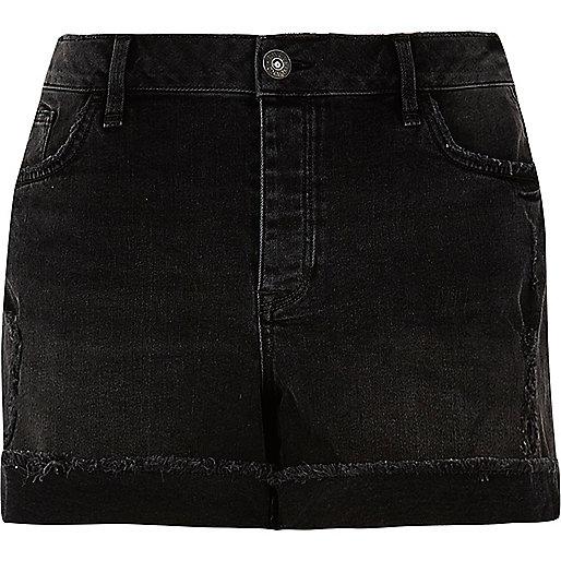 RI Plus black washed boyfriend denim shorts