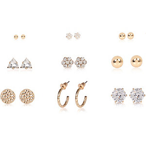Gold tone rhinestone stud earrings pack