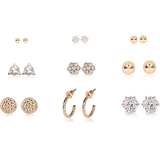 Gold tone diamante stud earrings pack