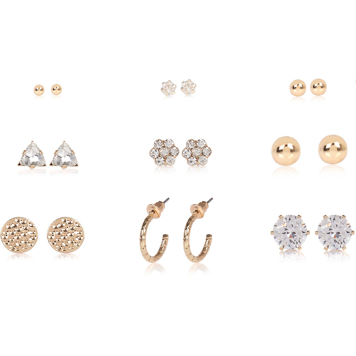 Gold tone diamante stud earrings pack
