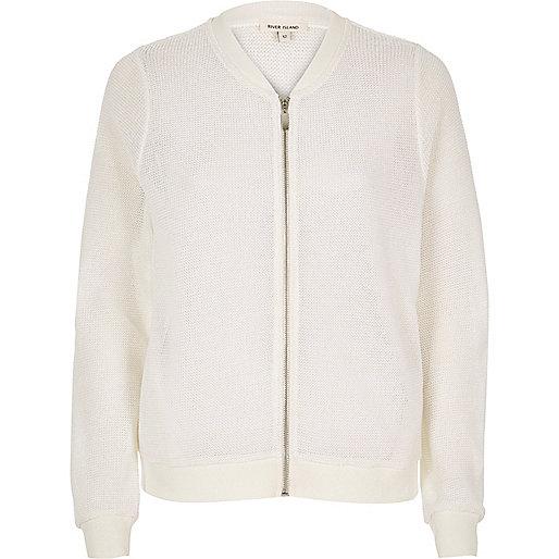 Metallic white bomber jacket