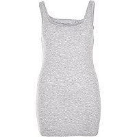 Grey scoop neck longline vest