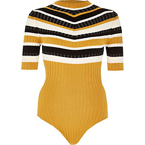 Yellow stripe high neck bodysuit