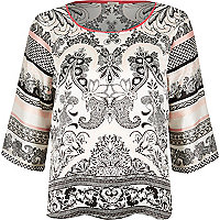 White paisley print satin pyjama top