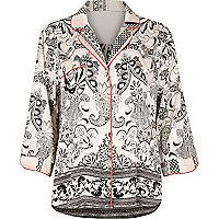 White paisley print pyjama shirt