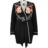 Black floral print robe