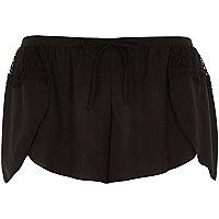 Black lace detail pyjama shorts