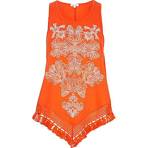 Orange print triangle fringe hem top