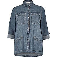 Plus – Blaues Jeans-Shacket