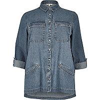 Veste-chemise Plus en jean bleu