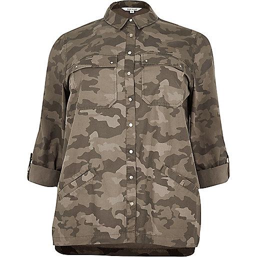Veste chemise Plus imprimé camouflage verte