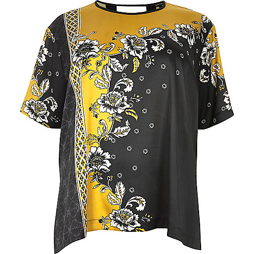 Plus yellow floral print silky top