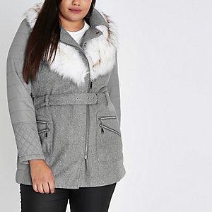 RI Plus - lichtgrijze gewatteerde jas met imitatiebont