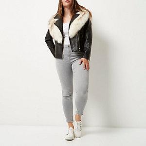 Plus black faux fur trim biker jacket