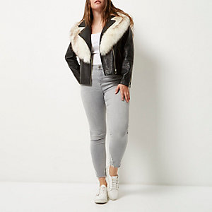 Plus black faux fur trim biker jacket
