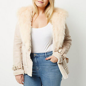 Plus – Lammfelljacke in Creme