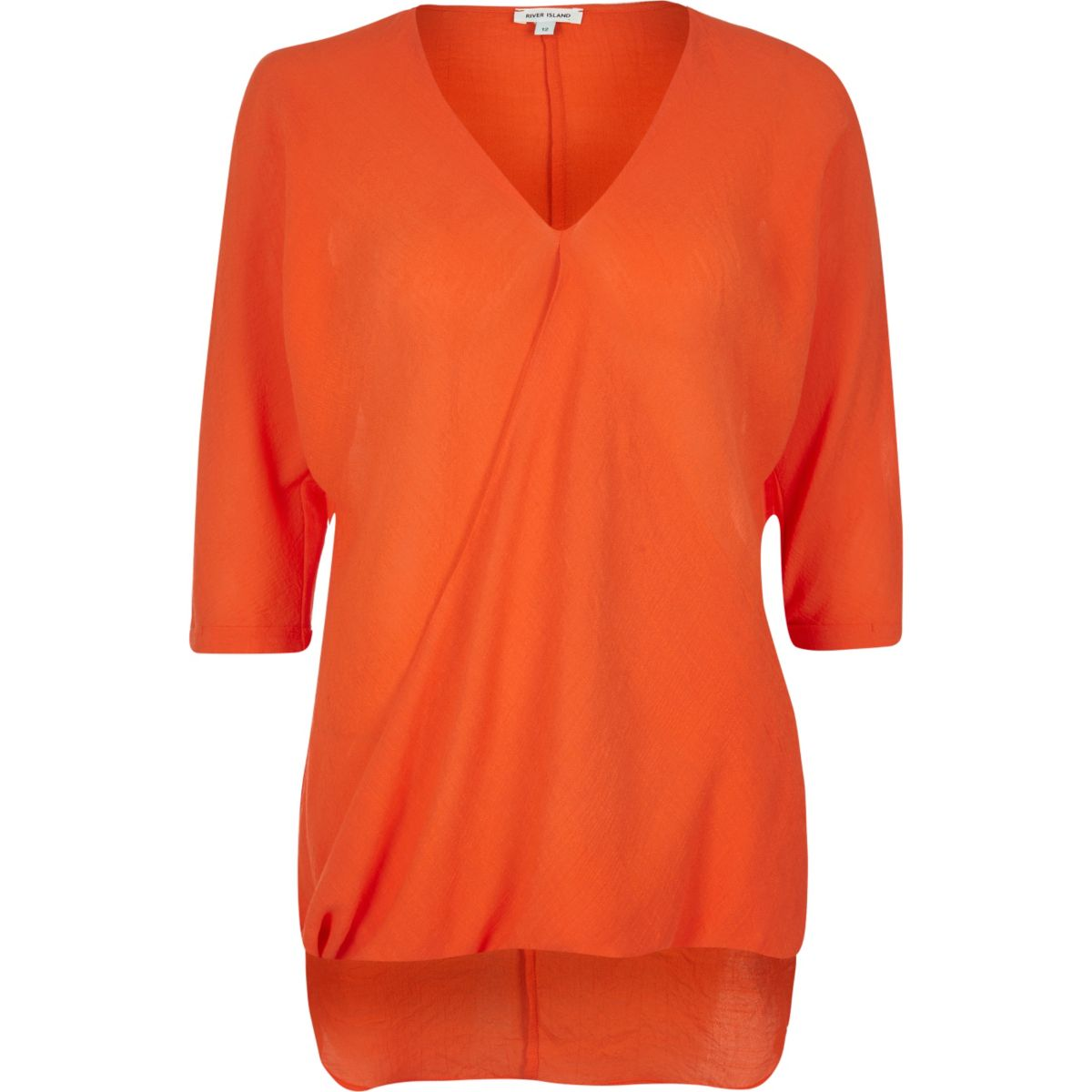 Orange wrap blouse