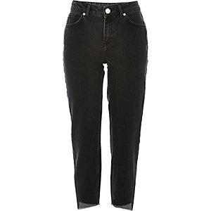 Black washed girlfriend jeans