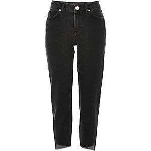 Black washed girlfriend jeans