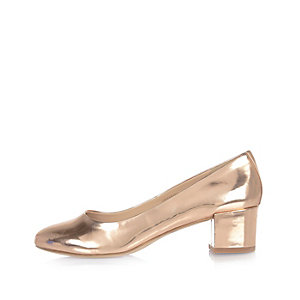 Patent rose gold block heel ballerina shoes