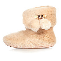 Pinke Slipper-Stiefel mit Kunstfell