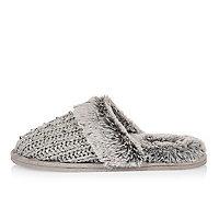 Grey knit faux fur mule slippers