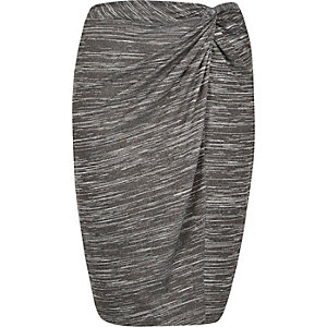RI Plus grey twist knot pencil skirt
