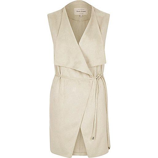 Cream faux suede sleeveless jacket