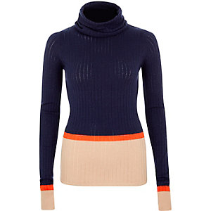 Navy ribbed stripe roll neck top