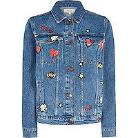 Veste en jean bleue à délavage moyen avec imprimé bande dessinée