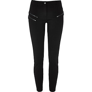 Black zip super skinny pants short length