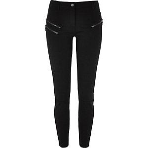 Pantalon super skinny noir zippé longueur raccourcie