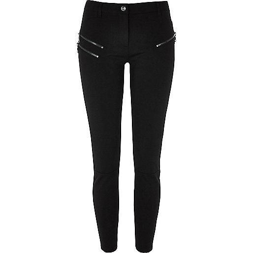 Black zip super skinny trousers short length