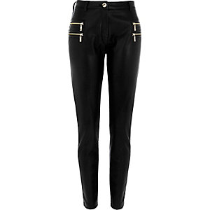 Black zip detail super skinny trousers