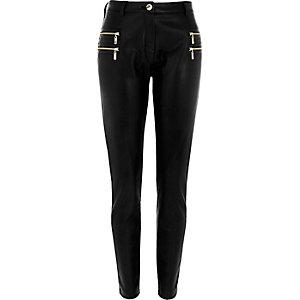Schwarze Super Skinny Hose mit Zierreißverschluss