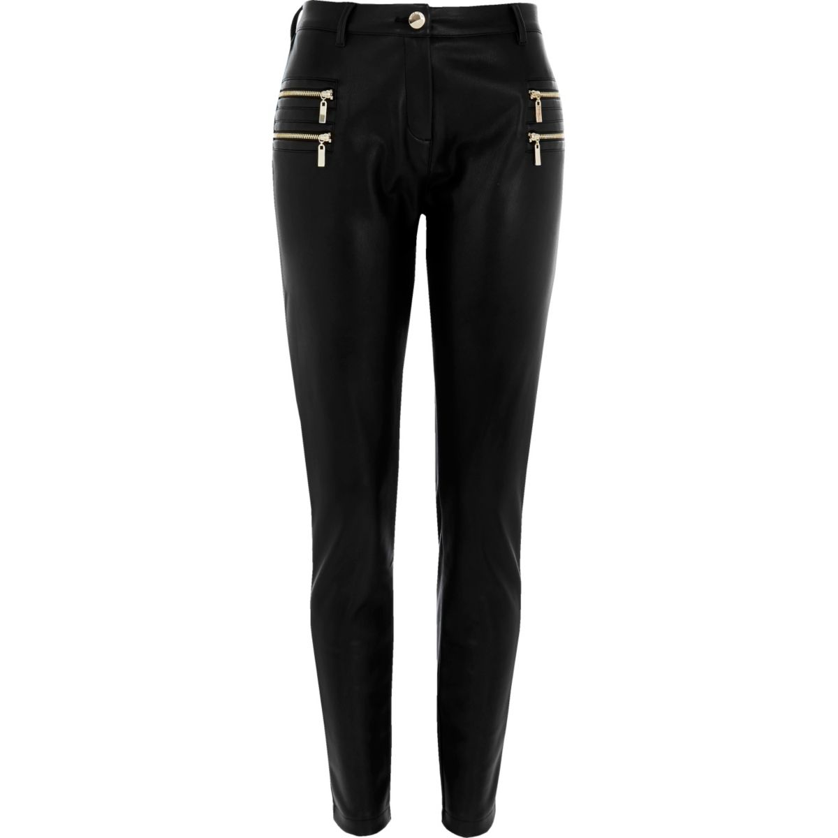 Black zip detail super skinny trousers
