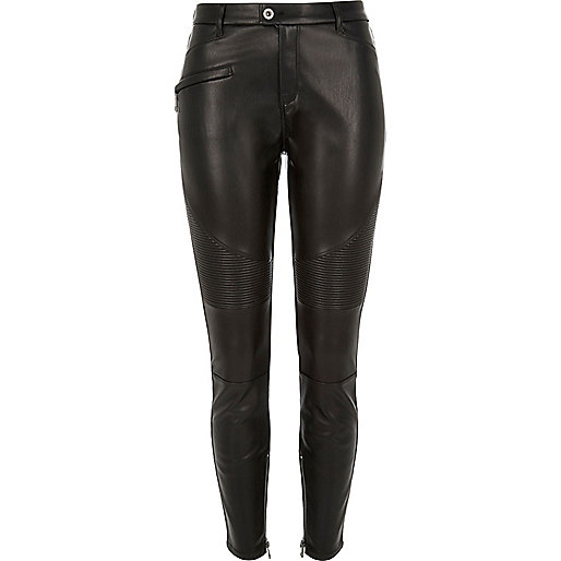 Black leather look biker trousers